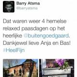compliment van barry atsma over zijn verblijf in het vierseizoenenhuisje, vakantiehuisje limburg, buitengoed de gaard