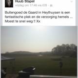 compliment van huub stapel over zijn verblijf in de mammaloewagen bij buitengoed de gaard 26 april 2015