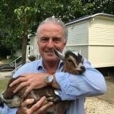 huub stapel knuffelt pasgeboren geitje wiesje tijdens zijn bezoek aan buitengoed de gaard luxe pipowagens en vierseizoenenhuisje midden-limburg