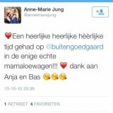 tweet van anne-marie jung over het verblijf in de mammaloewagen buitengoed de gaard