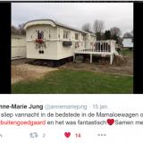 tweet van anne-marie jung over verblijf in mammaloewagen bij buitengoed de gaard