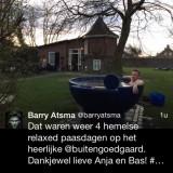 warm compliment van barry atsma over zijn verblijf in het vierseizoenenhuisje met hot-tub buitengoed de gaard