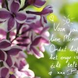 lieve groet voor menina van barry atsma bij planten van de sering voor rett syndroom bij het vierseizoenenhuisje  buitengoed de gaard